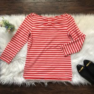 Kate Spade Striped Bow Boatneck Top